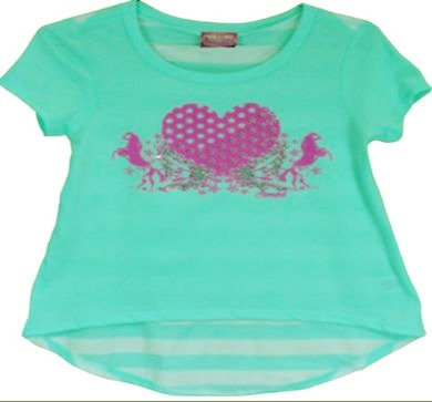 Cowgirl Hardware Girls Mint Heart/Horse Tee