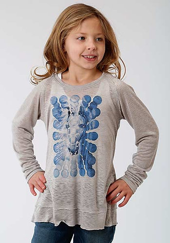 Roper Girls Grey Rayon Horse Jersey L/S Top
