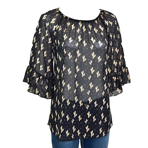 Cowgirl Hardware Blk/Tan Cactus Blouse