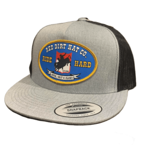 RED DIRT HAT CO. BUCKING BUFFALO GRAY BLACK TRUCKER CAP