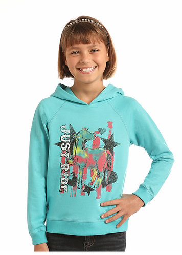 ROCK & ROLL COWGIRL JUST RIDE HORSES HOODIE