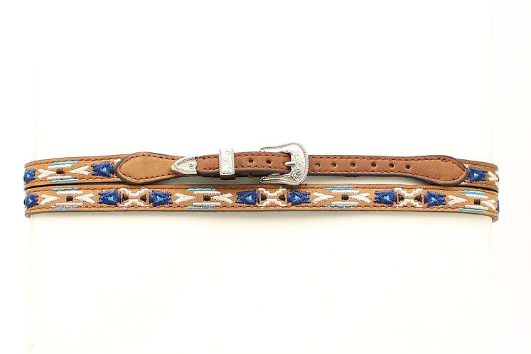 Brown with Blues Stitched Hatband