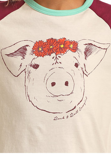 ROCK & ROLL COWGIRL PIG WITH FLOWER