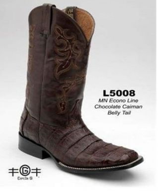 Corral Men's Circle G Chocolate Caiman Belly Square Toe Boots L5008