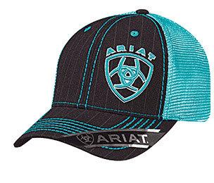 Ariat Black/Turquoise Mesh Snapback Logo Cap
