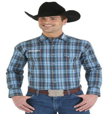 Wrangler� Logo Spread Collar L/S Plaid Shirt Blu (Tall Sizes) MP1273M