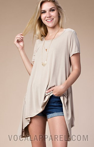 Vocal Basic tunic top with lace contrast back 16144S