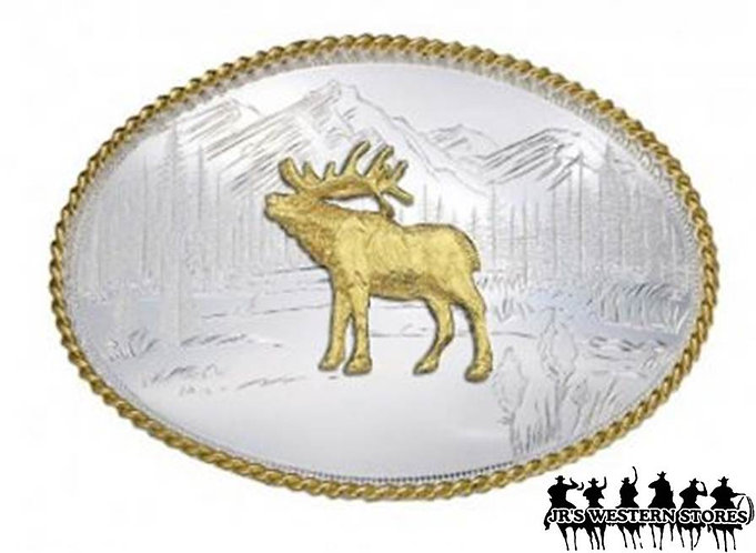 Etched Mountains with Elk Western Belt Buckle
