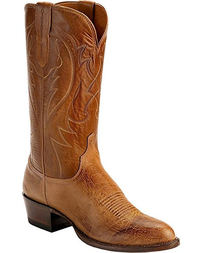 Lucchese Wylie Mens Tan Burnished Smooth Quill Ostrich Cowboy Boots M1600.R4