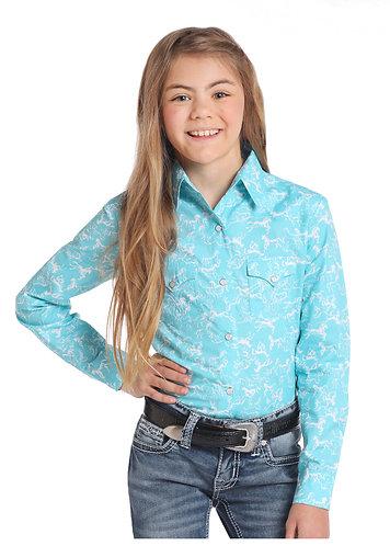 GIRLS LS SNAP PH PRINTED  Shirts