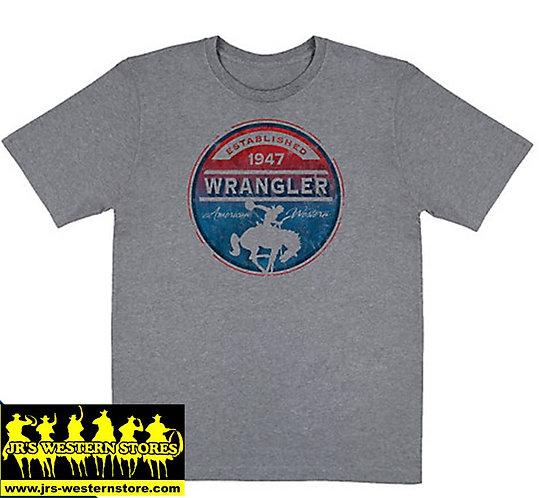 Wrangler Grey Riding Cowboy Logo T-Shirt