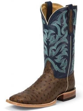 Justin Western Boots Mens Leather Full Quill Square Toe Tan 8584