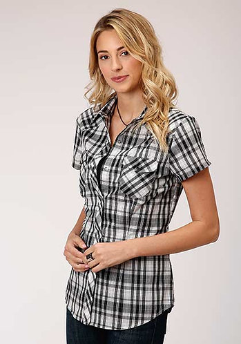 ROPER WOMENS S/S SHIRT   SNAP WOVEN PLAID