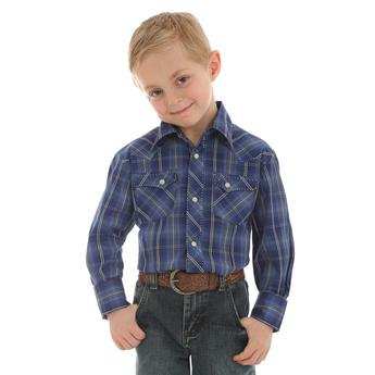 Boys' Wrangler® Fashion Snap Long Sleeve Shirt  Blue
