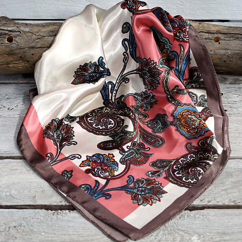 Pink & Brown Paisley Wild Rag/Scarf #WR301