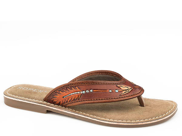 STETSON WOMENS FOOTWEAR   SANDAL  TAN TOOLED W/ HAND PAINTED