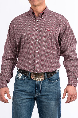 MENS BURGUNDY, RED AND GRAY GEOMETRIC PRINT BUTTON-DOWN WESTERN SHIRT