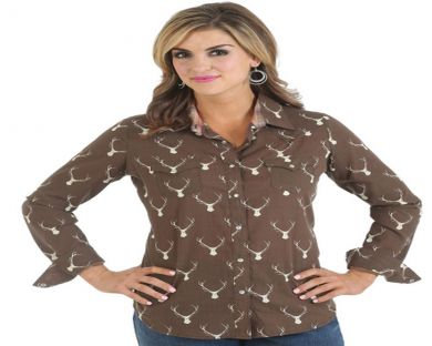 As Real As Wrangler� Ladies Long Sleeves One Point Yokes Plaid Shirt - Brown/Cre