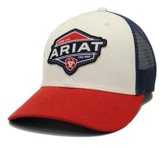 Ariat Mens Hat Baseball Cap Snapback Logo Patch Red White A300012205
