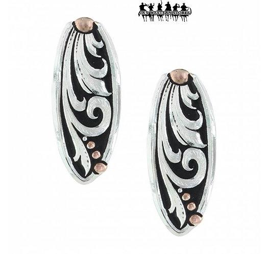 Leather Cut Rose Gold Trailing Vine Earrings