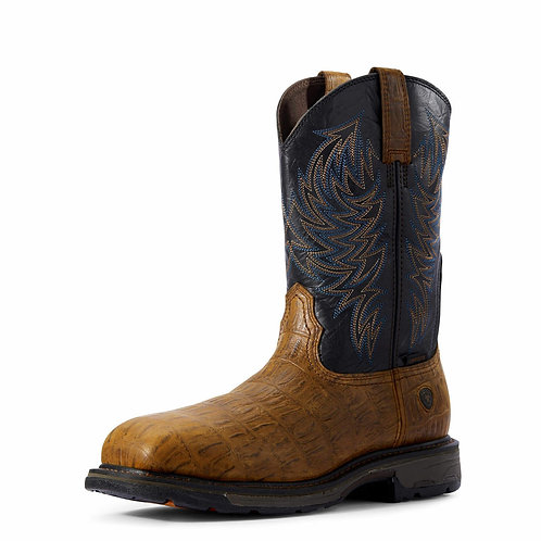 Ariat 10032454 Men Distressed Brown Hornback Prin WorkHog Two Tone Western Boots