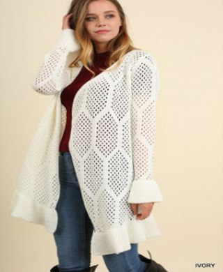 Umgee Open Front Crochet Light Sweater with Bell Sleeves Ivory G1038