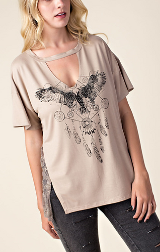 Vocal Short Sleeve Top with Key-hole Front and Dream Catcher with Wings