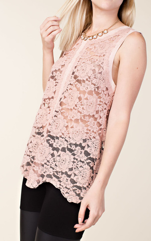 Vocal Sleeveless Lace top