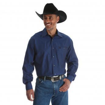 Wrangler George Strait Men's Blue Troubadour Long Sleeve Shirt