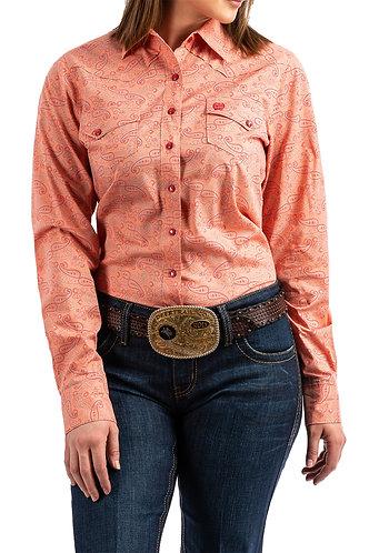 Corral Paisley Printed Long Sleeve Snap Front Shirt.