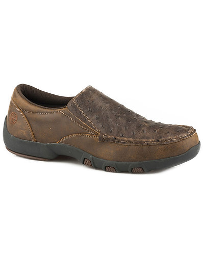 Roper Men's Owen Embossed Ostrich Driving Mocs - Moc Toe
