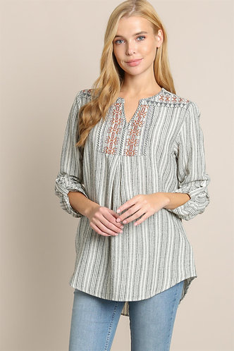 LLOVE Striped Embroidered Top - Long Sleeve