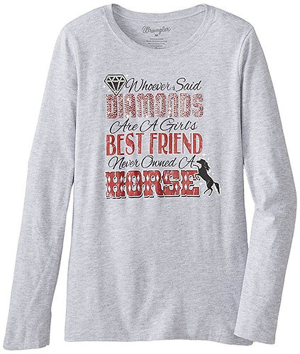 "Wrangler Girl's ""Diamonds Are A Girls Best Friend"" L/S T Shirt"