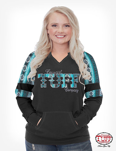 COWGIRL TUFF BLACK V-NECK PULLOVER SWEATSHIRT W/ TURQUOISE AZTEC PANELS