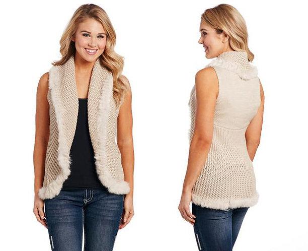 Women's Crochet Knit Vest with Fur Collar by Cripple Creek