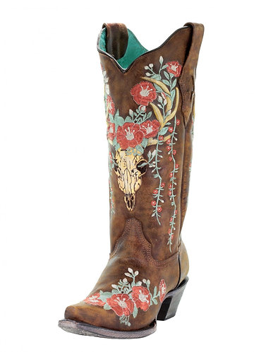 Corral Tan Deer Skull Overlay and Floral Embroidered Boots