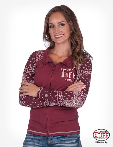 RED AND BANDANA LONG SLEEVE TRACK JACKET WITH COWGIRL TUFF COMPANY® CHEST EMBROI