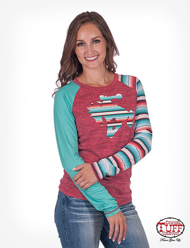 RED LUX ATHLETIC LONG SLEEVE TEE WITH SERAPE ACCENTS AND WILD & WOOLY PATCH