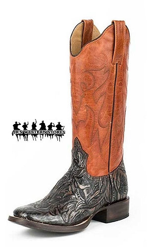 Roper Brown/Faux Copper Tooled Audie Boot