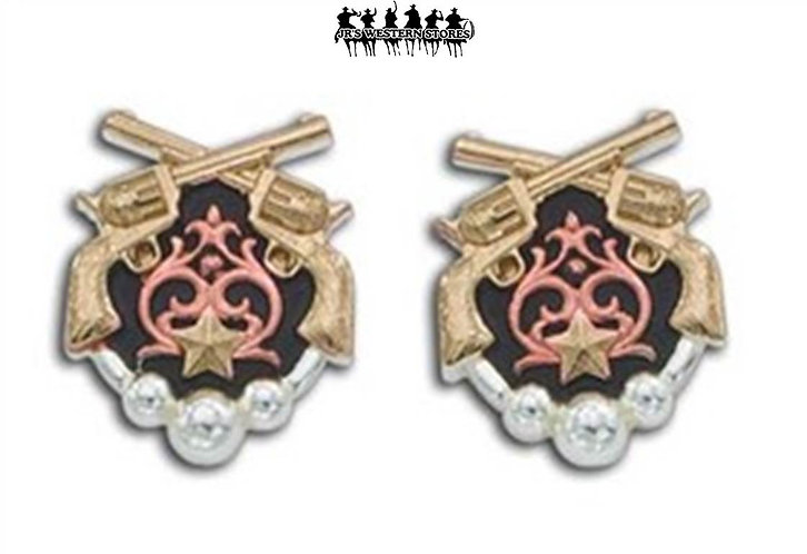 Tri-Colored Cowgirl Pistol Earrings
