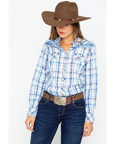 Arait Women's Fearless Embroidered Yoke Snap Plaid Long Sleeve Western Shirt