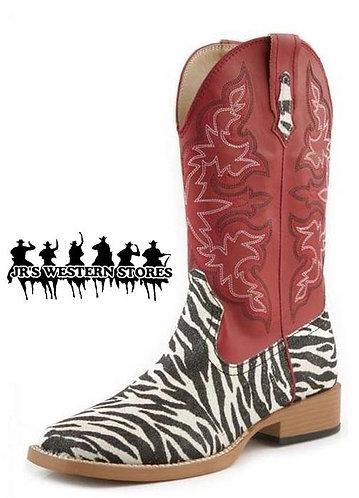 Roper Red/Zebra Glitter Boots