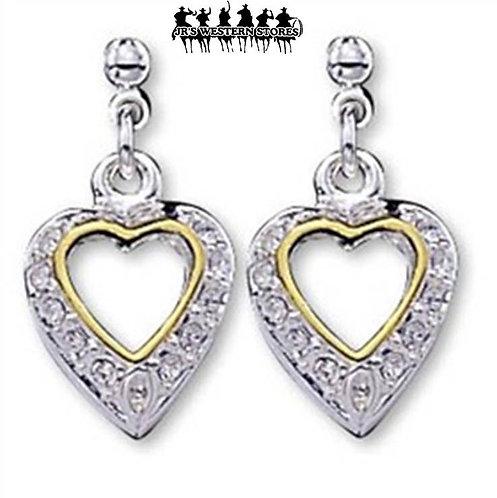 Small Rhinestone 3D Heart Earrings