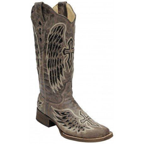 Corral Women's Brown/Black Wing & Cross Seqins Boots