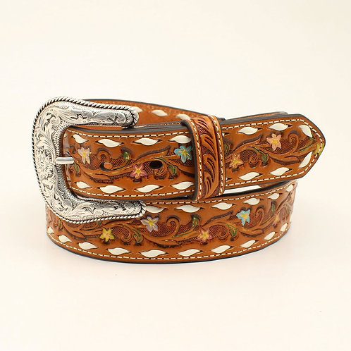 Nocona Western Womens Belt Leather Painted Floral Embossed Laced Tan N320001008