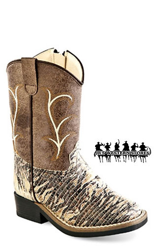 Old West Cream/Tan Lizard Toddler Boots
