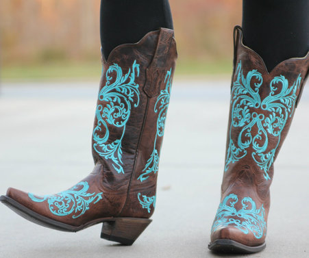 Corral Brown/Turquoise Dahlia Embroidery Boots