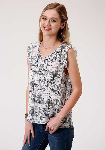 Roper Women's Summer Day Printed Rayon Blouse