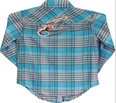 Cowgirl Hardware Girls Turquoise/Orange Western Shirt