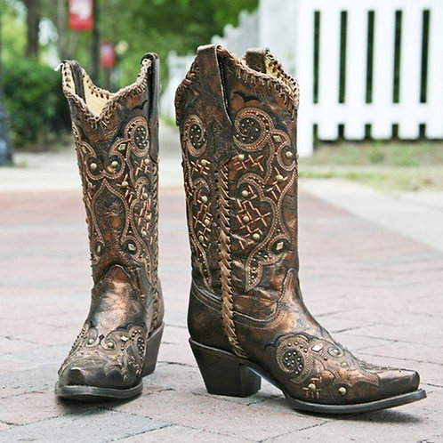 Corral Black and Bronze Studs and Whip Stitch Boot